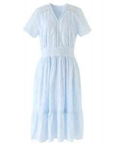Diamond Embroidery Eyelet Frill Hem Dress in Baby Blue