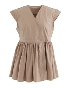 Cotton Sleeveless Wrapped Peplum Top in Camel