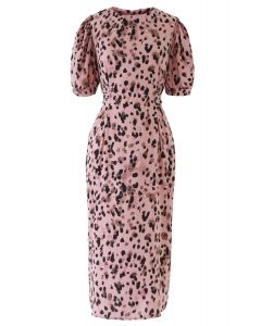 Animal Print Bowknot Shift Dress in Pink
