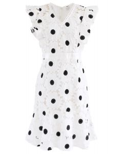 Guipure Crochet Sleeveless Frilling Midi Dress