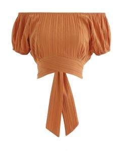 Stripe Embossed Tie-Back Crop Top in Orange