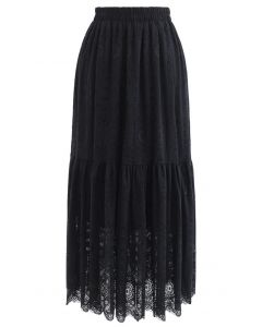 Frill Hem Full Floral Lace Midi Skirt in Black