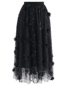 3D Mesh Flower Embroidered Tulle Midi Skirt in Black