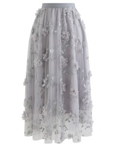3D Mesh Flower Embroidered Tulle Midi Skirt in Grey