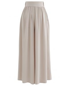 Flowy Satin Flare Leg Pockets Pants in Cream