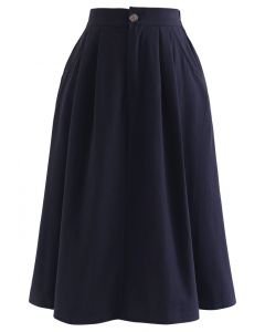 Slant Pockets A-Line Midi Skirt in Navy