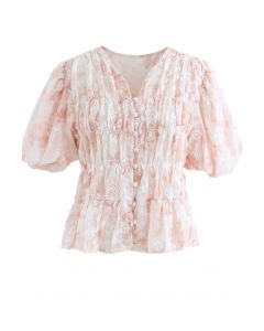 Floral Print Bubble Sleeves Button Down Chiffon Top in Peach