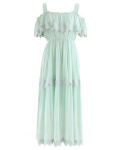 Crochet Trim Cold-Shoulder Dress in Mint