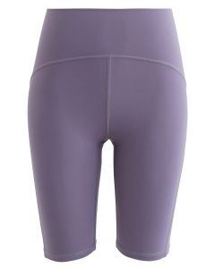 Seam Detail High-Waisted Sculpt Legging Shorts in Lavender