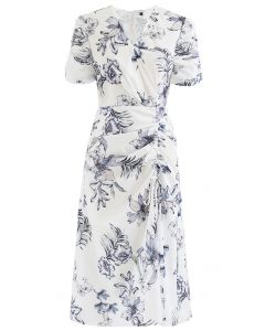 Glamorous Floral Print Drawstring Midi Dress