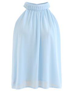 Pleats Embellished Halter Top in Blue
