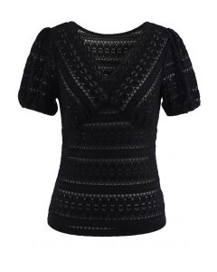 V-Neck Full Lace Neutral Black Top