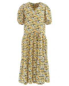 Yellow Flower Puff Sleeve Frilling Midi Dress