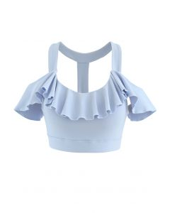 Ruffle Trim I-Shaped Back Low-Impact Sports Bra in Baby Blue
