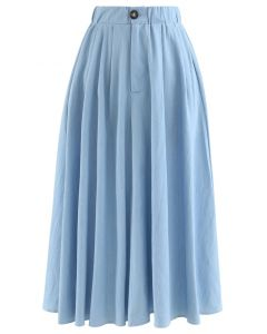 Daily Buttoned A-Line Midi Skirt in Blue