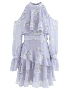 Lavender Gardenia Impress Cold-Shoulder Chiffon Dress