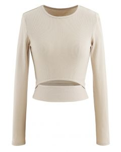 Hollow-Out Waist Sleeves Crop Top in Sand
