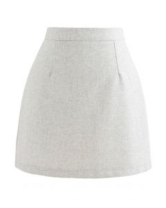 Wool-Blended Bud Mini Skirt in Ivory