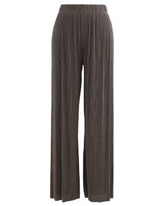 Contrasted High-Waisted Ribbed Pants in Brown
