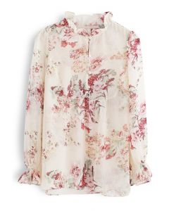 Creamy Floral Printed Button Down Chiffon Top