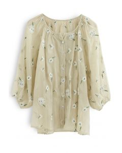 Embroidered Posy Organza Semi-Sheer Top