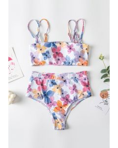 Multicolored Floral Double Straps High-Waisted Bikini Set