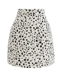 Irregular Dots Print Bud Skirt in Ivory