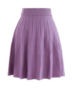 Stripe Pleated A-Line Knit Skirt in Purple