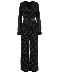 Belted Grid Wrap Chiffon Jumpsuit