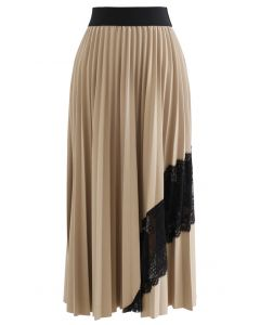 Lace Inserted Pleated Maxi Skirt in Tan
