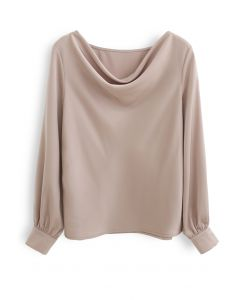 Satin Drape Neck Versatile Shirt in Light Tan