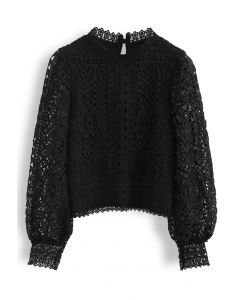 Panelled Full Crochet Sleeves Top in Black