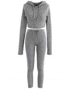 Knit Hooded Crop Top and Leggings Set in Grey