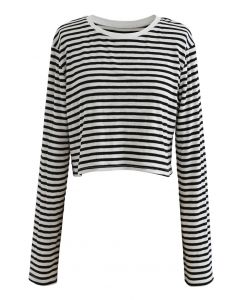 Cropped Long Sleeves Stripes Knit Top in Black