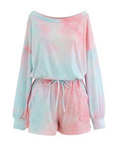 Pinky Tie Dye Loose Sweatshirt and Shorts Set