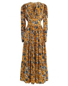 V-Neck Puff Shoulders Floral Maxi Dress in Mustard