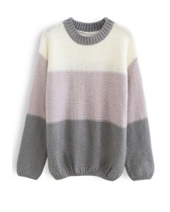 Block Striped Oversize Knit Sweater in Grey