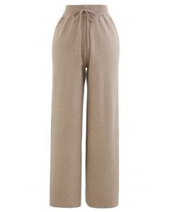 Straight Leg Drawstring Waist Knit Pants in Tan