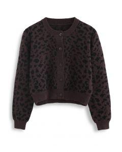 Animal Print Button Down Crop Cardigan in Brown