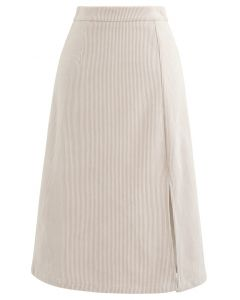 Front Split Corduroy Midi Skirt in Cream