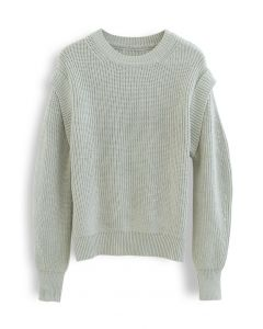 Soft Hue Round Neck Rib Knit Sweater in Moss Green