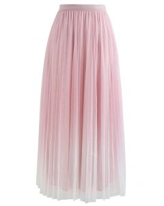 Gradient Double-Layered Mesh Tulle Skirt in Pink