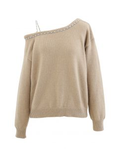 One-Shoulder Diamond Strap Knit Sweater in Camel