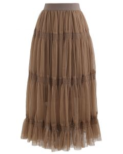 Shirred Elastic Double-Layered Mesh Skirt in Caramel