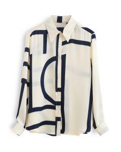 Mixed Stripe Hi-Lo Hem Shirt in Cream