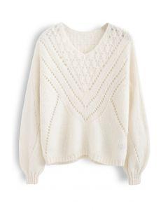 V-Shape Eyelet Fuzzy Knit Sweater in Cream