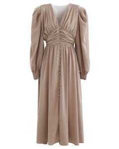 Puff Shoulder Ruched Button Down Chiffon Dress in Tan