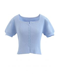 Short Sleeves Button Down Fitted Knit Top in Blue
