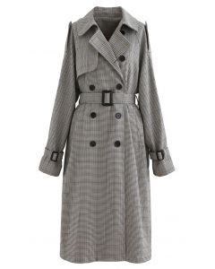 Houndstooth Belted Double-Breasted Longline Coat