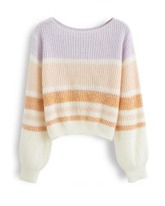 Color Blocked Boat Neck Ribbed Knit Sweater